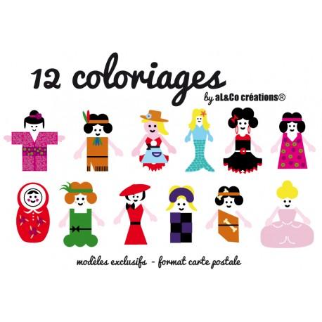 cartes à colorier thème filles