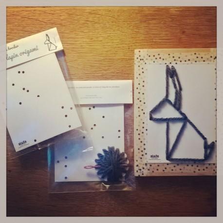 carte à broder lapin origami