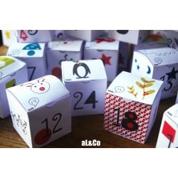 calendrier de l'avent 24 boîtes en papier