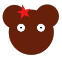 Coupon de tissu ours Charlotte et sa barrette étoile