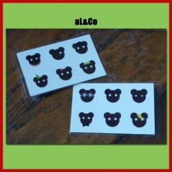 lot de 12 mini stickers famille ours