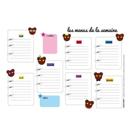 le calendrier des menus