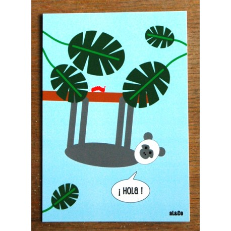 carte postale Hola les lamas