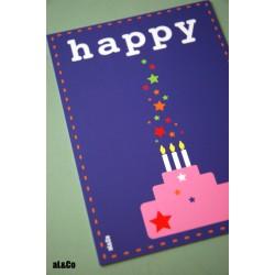 carte postale Happy - anniversaire