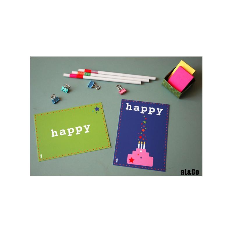 carte postale Happy - anniversaire - Al&Co